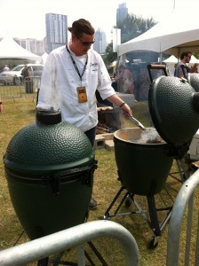 Chef Jason Dady cooking with Big Green Eggs.