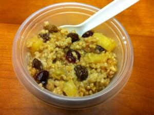 Steel cut oats with apples, raisins, and cranberries.