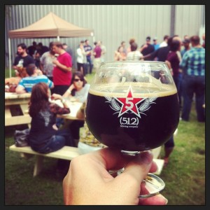 (512) Brewing's Five beer, an Imperial Stout, and completely delicious.