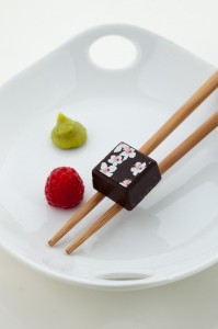 Delysia Chocolatier's award winning wasabi raspberry chocolate truffle.