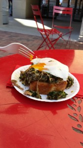 Toasted artisan bread piled with pulled pork and leek hash, topped with an egg is heaven on a plate.