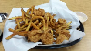 The fried shrimp basket. Please excuse my odd focus, as my hands were full of poboy.