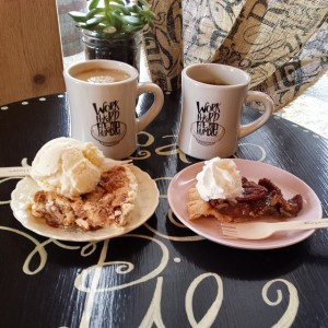 Oh my pie! White Trash pie ala mode on the left, and Ann's Pecan Pie with whipped cream on the right. Bliss.