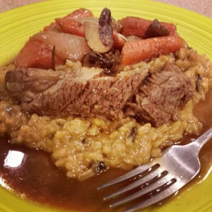 Tender, juicy pot roast with perfect veggies over risottto. Now that's a comfort meal!