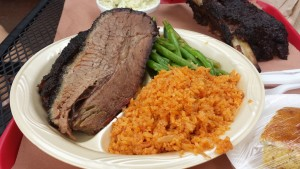 Moist brisket, green beans and Spanish rice from Terry Black's.