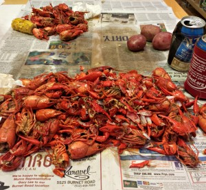 Crawfish carnage. Guess which pile is mine?