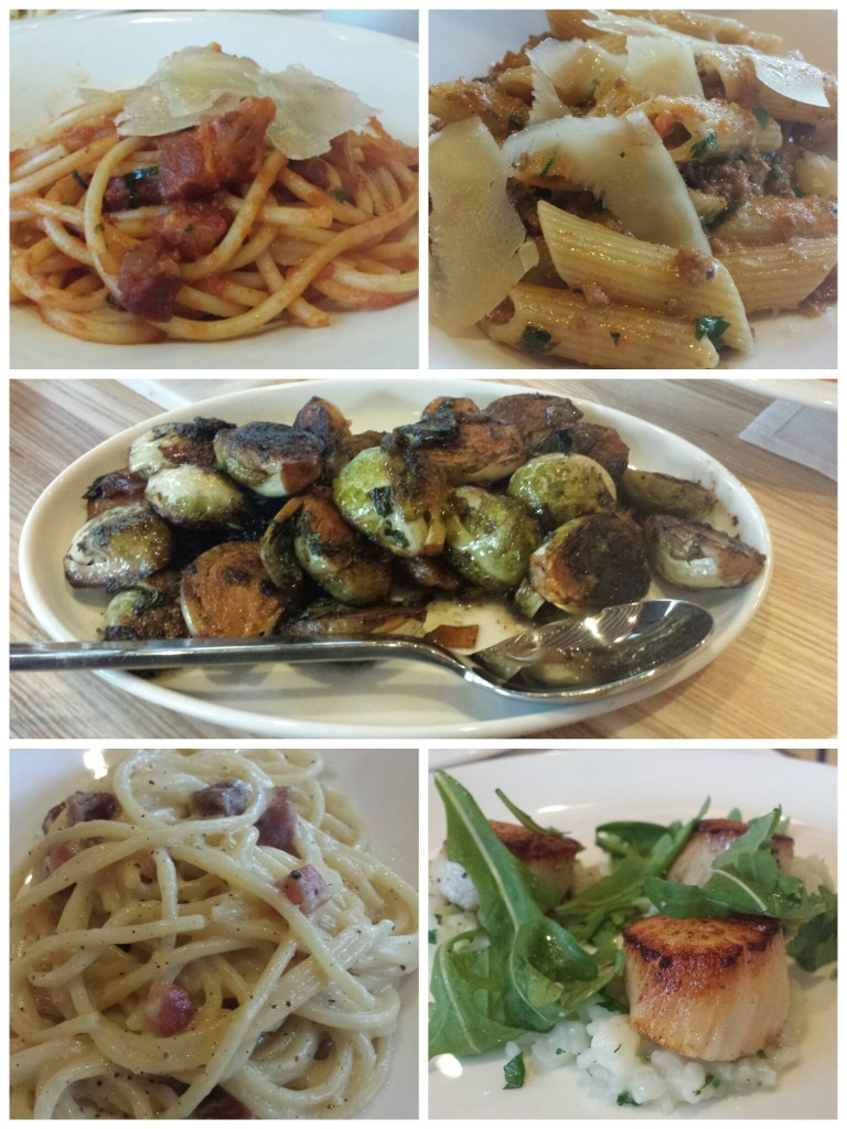 Top: Bucatini all'Amatriciana, Penne Rigate alla Bolognese. Middle: Balsamic Brussels Sprouts. Bottom: Spaghetti Carbonara, Sea Scallops.