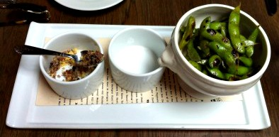 Charred edamame with chili oil and pop rocks. Yes, you need to try this.